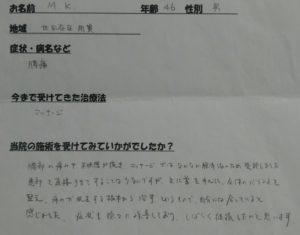 世田谷区用賀 40代男性 腰痛